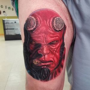 Hellboy portrait tattoo by Mark Duhan. #Hellboy #darkhorse #comics #graphicnovel #character #colorrealism