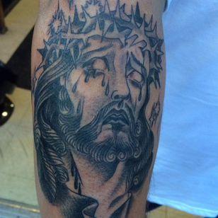 Black and Grey Jesus Tattoo by Freddy Corbin #blackandgrey #Jesus #BlackandGreyJesus #Religious #Christ #FreddyCorbin