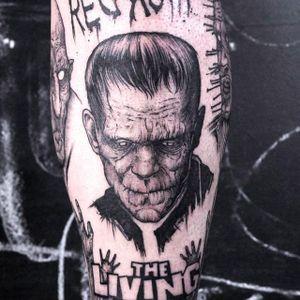 Clean and solid Frankenstein tattoo by Gabor Zolyomi. #GaborZolyomi #FatumTattoo #blackwork #illustrativetattoo #frankenstein