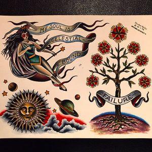 My Soul is Celestial Bound (via IG-cathedraloftears) #artist #tattooartist #gothic #flashart #fineart #artshare #HeatherBailey #tree #cosmos #woman