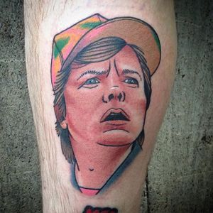 Marty McFly Tattoo by Boryslav Dementiev #martymcfly #backtothefuture #traditional #traditionalportrait #popculture #popcultureportrait #popart #BoryslavDementiev