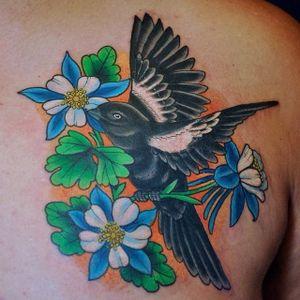 Neo traditional Colorado state bird (lark) and columbine flower tattoo by Patrick Sans. #flower #floral #columbine #columbineflower #lark #bird #Colorado #PatrickSans
