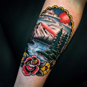 Heaven is a place on earth by Danny Piedra #DannyPiedra #traditional #color #landscape #rose #flowers #leaves #nature #forest #river #mountains #sun #birds #clouds #sky #frame #tattoooftheday