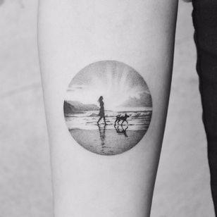 Sunsets on the Beach by Amanda Piejak #AmandaPiejak #blackandgrey #dotwork #small #landscape #beach #ocean #dog #clouds #sky #lady #sunset #light #mountains #nature #tattoooftheday