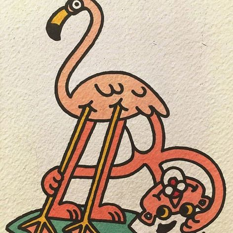 Pink Panther flamingo. (via IG - woo_loves_you) #WooLovesYou #Illustrative #PinkPanther #Flamingo