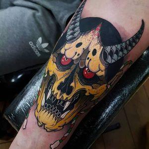 Hannya skull tattoo by Elliott J Wells #ElliottJWells #skulltattoos #color #Hannya #skull #hannyamask #neotraditional #newtraditional #horns #folklore #legend #yokai #demon #tattoooftheday
