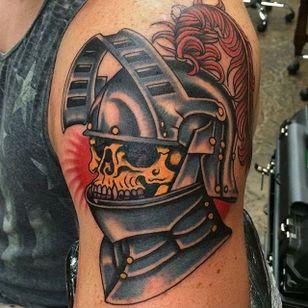 Knight Tattoo by Griffen Gurzi #knight #knighttattoo #traditional #traditionaltattoo #oldschooltattoo #oldschooltattoos #GriffenGurzi