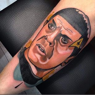 Spock tattoo by Gibb. #spock #leonardnimoy #startrek #scifi #portrait #neotraditional