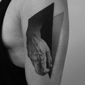 Academic tattoo by Dotyk #Dotyk #negativespace #dotwork #blackwork #geometric #hand #subtle