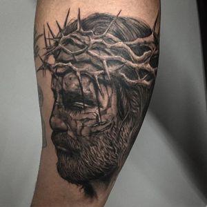 Black and Grey Jesus Tattoo by Fernando Gonzalez #blackandgrey #Jesus #BlackandGreyJesus #Religious #Christ #FernandoGonzalez