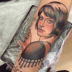 Catherine Zeta-Jones portrait tattoo by Mimi Madriz. #MimiMadriz #neotraditional #portrait #popculture #movie #chicago #catherinezetajones