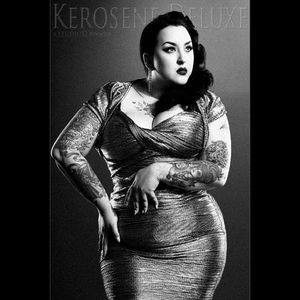 Betty Page would be proud of his one she looks stunnin as a pinup girl Photo by Studio D #KeroseneDeluxe #plusmodel #tattooedlady #model #pinup #StudioD #tattoomodel