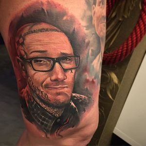 Color realistic self-portrait tattoo by Benjamin Laukis #BenjaminLaukis #realism #portrait #selfportrait