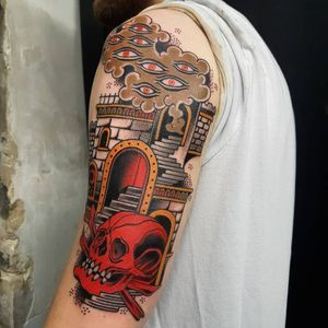 Skull, stairs and smoke tattoo by Victor Kludge #VictorKludge #skulltattoos #color #traditional #surreal #darkart #stairs #building #architecture #eyes #smoke #skull #bones #death #thirdeye #tattoooftheday