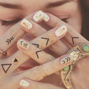 Metallic Nail Tattoo Art #MetallicTattoos #NailTattoo #NailArt #NailTattoos #TattooFashion