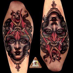 Demon and Lady Ambigram Tattoo by Alan Ferioli @Alanferiolitattoo #Alanferiolitattoo #Neotraditional #Woman #Girl #Lady #StayGoldTattoo #Ambigram #Demon