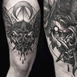 Blackwork bat tattoo by Robert Borbas. #RobertBorbas #Grindesign #bat #blackwork #horror #dark #dotwork