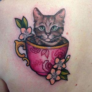 Kitty in a teacup by Carly Kroll (via IG- @carlykroll) #carlykroll #neotraditional #cute #animal #teacup