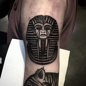 Tutankhamun Tattoo by William Roos #tutankhamun #blackwork #blackink #traditional #traditionalblackwork #classicblackwork #WilliamRoos