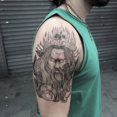 Por Ink Mali! #InkMali #AlexandreLima #tatuadoresbrasileiros #fineline #linework #Poseidon #Poseidontattoo