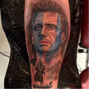 Braveheart Tattoo by Chris Jones #Braveheart #BraveheartTattoo #MelGibson #Portrait #MoviePortraits #ChrisJones