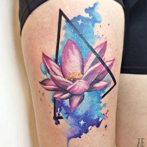 Geometry inspired water flower #YelizÖzcan #fineline #watercolor #blackwork #geometric #triangle #waterflower #floral