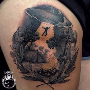 Camping gone bad tattoo by Scott M. Harrison #ScottMHarrison #neotraditional #nature #camping #alienabduction #ufo