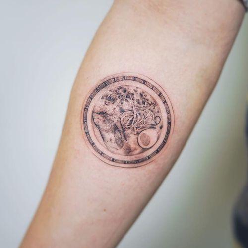 Realism ramen tattoo by Nando #Nando #ramentattoos #blackandgrey #realism #realistic #noodles #ramen #pho #soup #egg #nori #bowl #pattern #foodtattoo
