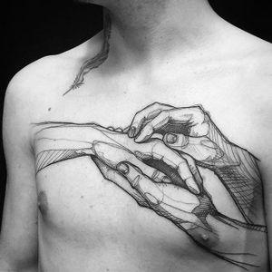 Sketchy, illustrative tattoo of hands embracing, by L'oiseau (via IG—loiseautattoo) #Sketchy #Illustrative #Blackwork #Loiseau
