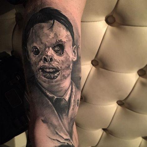 Face transplant recipient tattoo by Benjamin Laukis. #transplant #facetransplant #creepy #blackandgrey #realism #blackandgreyrealism #BenjaminLauis #TheBlackMark