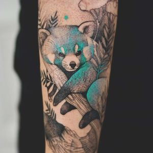 Red panda tattoo by Dzo Lama #DzoLama #watercolortattoos #color #blackandgrey #linework #illustrative #redpanda #animal #leaves #nature #cute