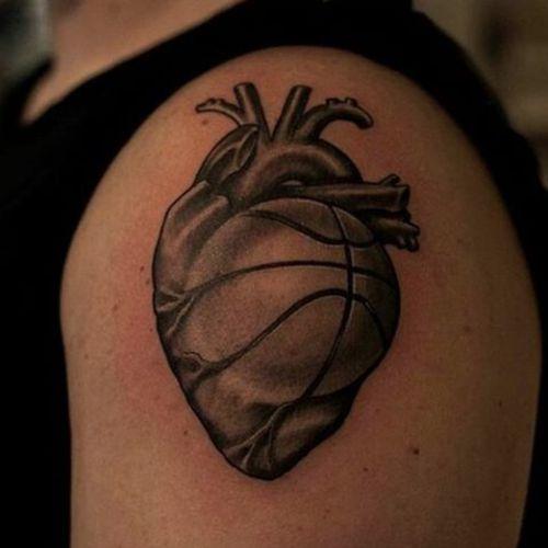 Basketball heart. (via IG - dufo_eaststreettattoo) #Basketball #BasketballTattoo #BasketballTattoos #NBA