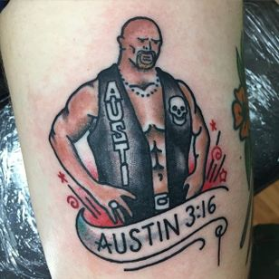 A traditional spin on a Stone Cold Steve Austin tattoo. Tattoo by Petey Woelfling. #SteveAustin #StoneCold #StoneColdSteveAustin #wrestling #WWF #WWE #traditional #banner #Austin316 #PeteyWoelfling