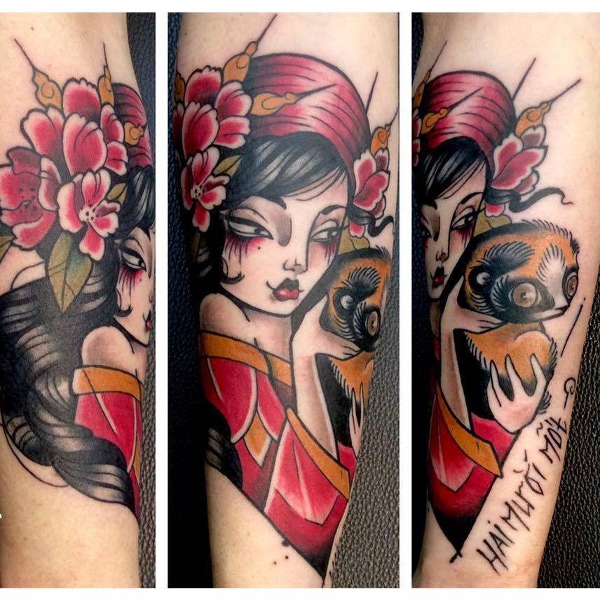 Pretty tattoo by Odrëy #Odrëy #illustrative #newschool #neotraditional #lady #animal