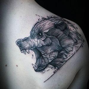 Wolf Tattoo by Jean Carcass #wolf #wolftattoo #illustrative #illustrativetattoo #blackworkillustrative #blackwork #blackworktattoo #graphictattoo #graphic #graphicblackwork #blackworkartists #graphicartist #JeanCarcass