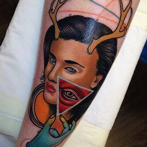 Surrealistic tattoo by Piotr Gie #PiotrGie #graphic #surrealistic #surrealisticportrait #woman #face