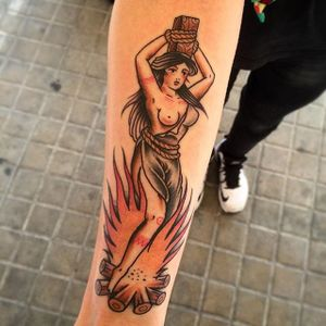 Burning Witch Tattoo by Inser Serius Series #witch #witchtattoo #burningwitch #burningwitchtattoo #witchhunt #witchhunttattoo #horrortattoo #InerSeriusSeries
