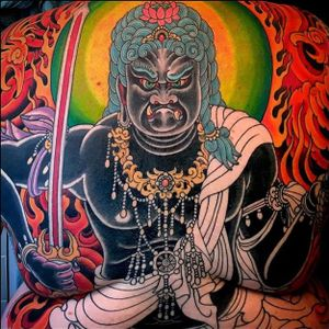 Another fiery Fudo Myoo with a wrathful stare by Rubendall. #backpiece #color #detail #FudoMyoo #MikeRubendall