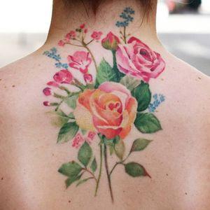 Rose tattoo by Thommesen ink #ThommesenInk #rosetattoos #color #watercolor #painterly #flowers #floral #rose #rosebud #leaves #nature #plant