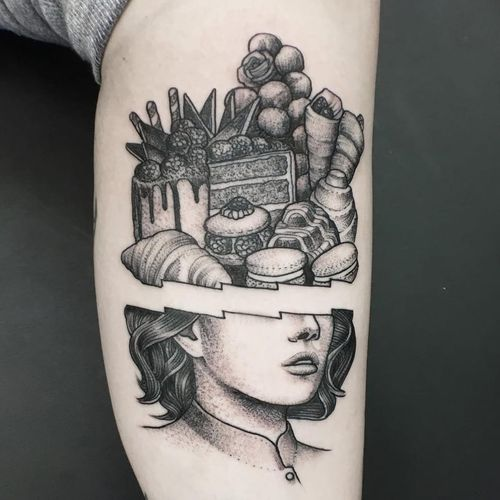 All I think about are desserts tattoo by Oddhouse #Oddhouse #desserttattoos #blackandgrey #realism #realistic #mashup #dessert #food #foodtattoo #portrait #cake #macarons #croissant #ladyhead #fruit #rose