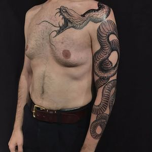 Snake sleeve by Joao Bosco #JoaoBosco #blackandgrey #realistic #realism #Japanese #mashup #scales #snake #fangs #tattoooftheday