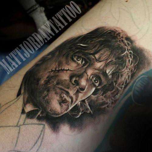 Tyrion Lannister Tattoo by Matt Jordan #MattJordan #Tyrion #Lannister #TyrionLannister #TyrionTattoo #TyrionLannisterTattoo #PeterDinklage #Portrait #GameofThrones