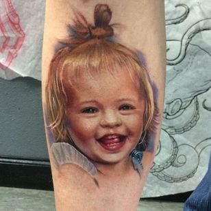 Sweet child portrait tattoo by Kyle Cotterman. #realism #colorrealism #KyleCotterman #portrait #child