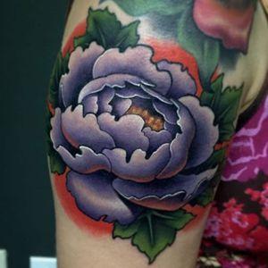 Pretty in purple, by Aaron Springs (via IG—aaron_springs) #neotraditional #colorwork #floral #flowers #AaronSprings