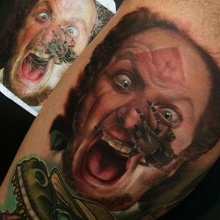 Marv is none too pleased about the spider crawling across his face. Tattoo by Kyle Cotterman. #realism #colorrealism #KyleCotterman #Marv #HomeAlone
