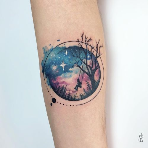 Watercolor galaxy tattoo by Yeliz Ozcan #YelizOzcan #watercolortattoos #color #painterly #watercolor #galaxy #space #stars #swing #tree #forest #play #kid #shape #circle #dots