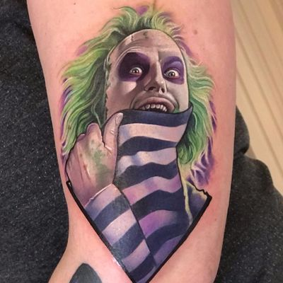 I'm a ghost with the most, babe. by David Corden #DavidCorden #color #realism #realistic #hyperrealism #Beetlejuice #movietattoo #movie #MichaelKeaton #ghost #demon #haunted #horror #tattoooftheday