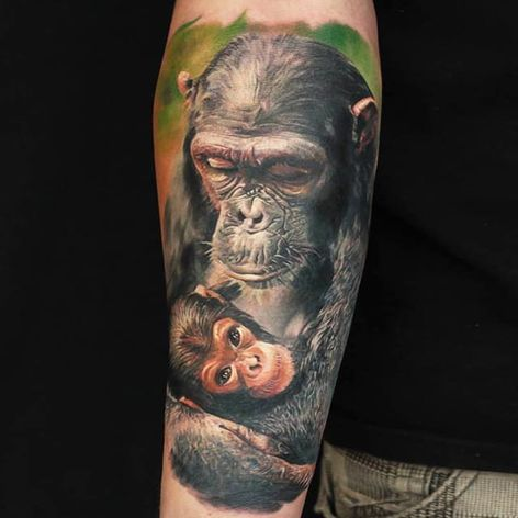 Mãe e filho #LedCoult #macacotattoo #monkeytattoo #macaco #monkey #maeefilho #monandbaby #realismo #realism
