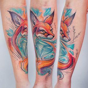 Diamond fox tattoo. #KatiBerinkey #diamond #fox #sketchtattoo #sketchstyletattoo