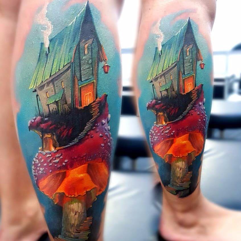 Casinha no cogumelo #VasilySuvorov #gringo #realismo #realism #realismocolorido #casa #house #cogumelo #mushroom #fumaça #smoke